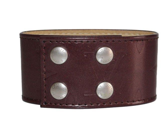 Bracelets Louis Vuitton Manchette Cuir Marron foncé ref.65793
