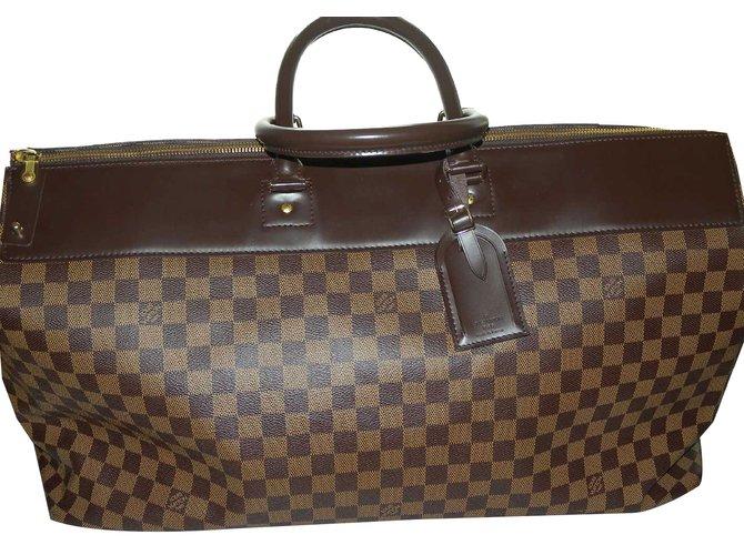 55b8ef8bc6e4 Louis Vuitton Greenwich Gm Travel Bag Leather Cloth Dark Brown Ref