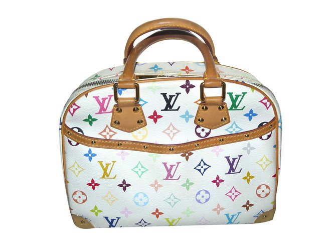 aea1ca9ced064 Sacs à main Louis Vuitton Murakami multicolore toile Cuir Blanc ...