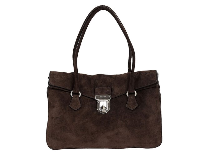 607814b4b8b2 Prada Prada suede leather bag Handbags Suede Brown ref.65835 - Joli ...