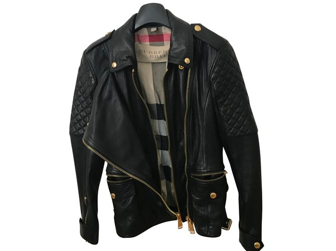 ed5a834f842 Burberry Diamond Quilt Detail Leather Biker Jacket Biker jackets Lambskin  Black ref.65979