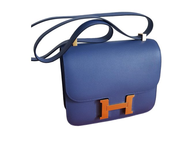 Sacs à main Hermès Constance 24 Cuir Bleu ref.66078
