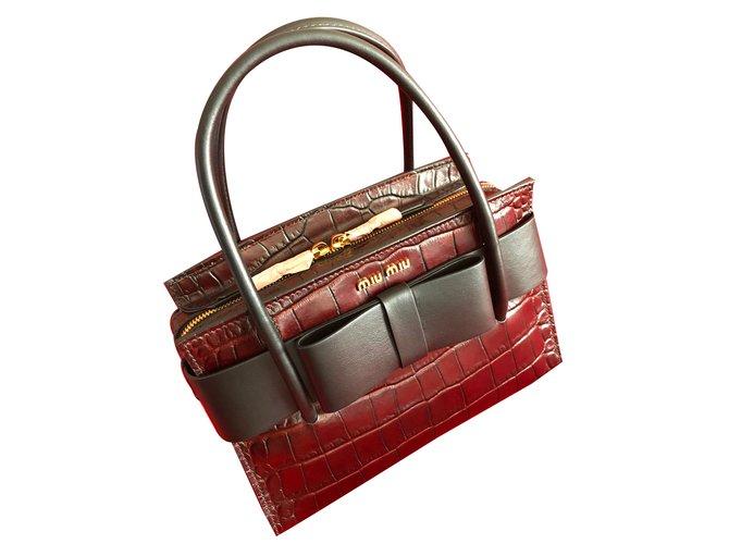 Miu Miu St. Cocco Fiocco Top Handle Bag with bow - Chocolate   black ... ebe8c031a0e56