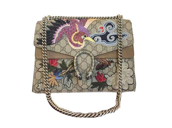 686c4c03ddfae7 Gucci Dionysus Handbags Suede,Leather Beige,Bronze ref.66176 - Joli Closet