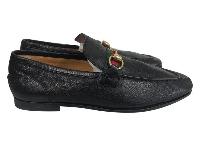 ce40ab40550c ... Mocassins homme Gucci Mocassins Gucci neufs en cuir Cuir Noir ref.66194  ...