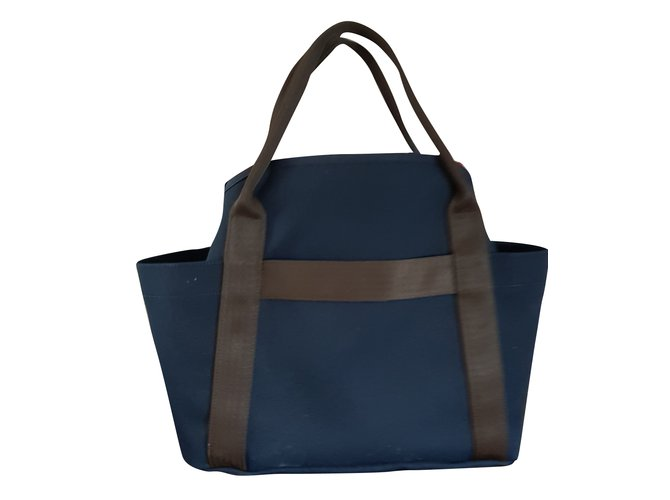 Sacs à main Hermès RYAN Toile Bleu Marine ref.66278