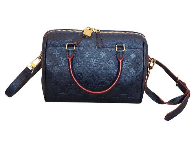 Louis Vuitton SPEEDY BANDOULIÈRE 25 Handbags Leather Blue ref.66413 ... 87b03fe5cf2