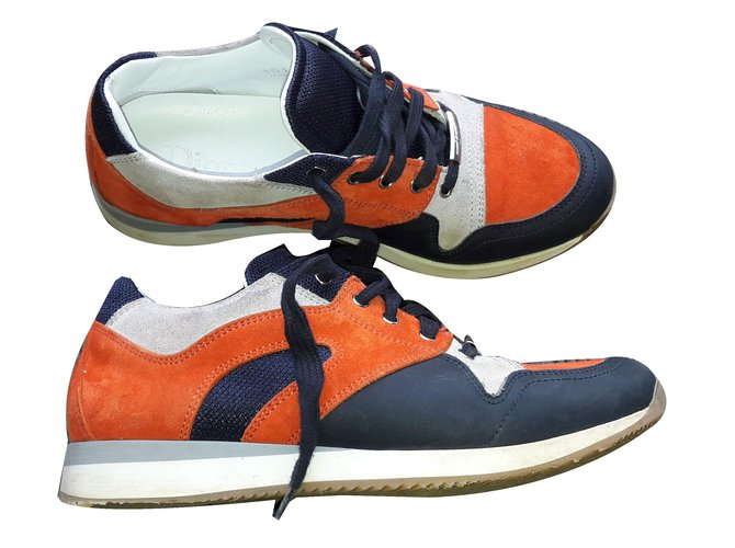 Baskets enfant Dior Baskets orange Daim Blanc,Orange,Bleu Marine ref.66506