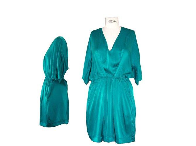Robe maje vert emeraude soie