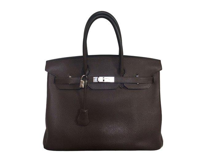 b53df147a5e Hermès Birkin 35 Togo Handbags Leather Dark brown ref.66655 - Joli ...