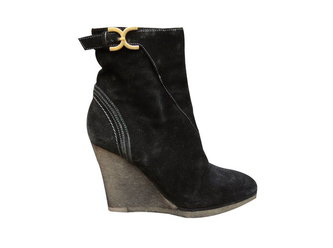 Chloé Ankle Boots Ankle Boots Deerskin Black ref.66665