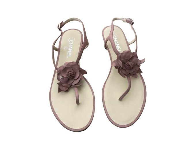 0672f7048a36 Chanel Blush Pink floral Camellia sandals Sandals Leather Pink ref.66746