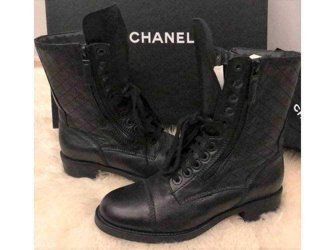 Chanel black combat boots sz 38 Boots