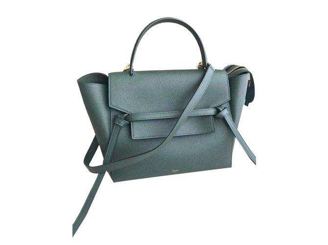adb8fa616a1d Facebook · Pin This. Céline Belt bag Handbags Leather Green ref.66760