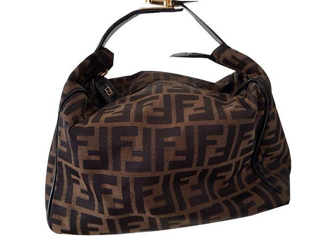 Fendi Zucca Pouch Bag Handbags Leather Cotton Brown Golden Ref 66768