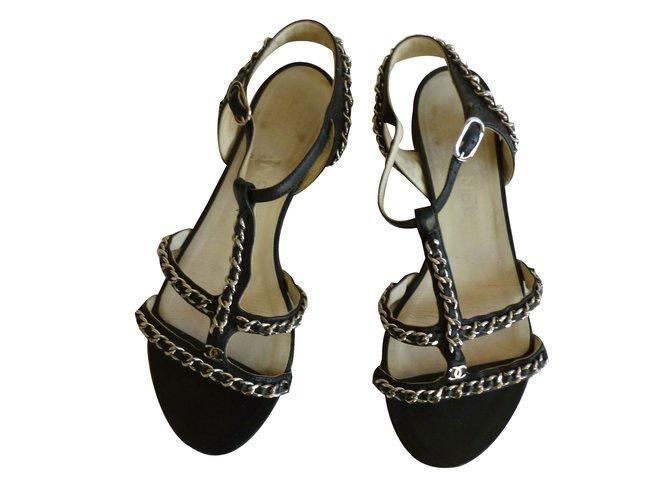 580a795c9bfd Sandales Chanel Sandales Cuir Noir ref.66874 - Joli Closet