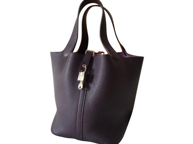 Hermès Picotin Lock MM Raisin Handbags Leather Purple ref