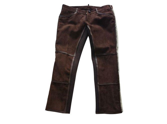 Pantalons Dsquared2 Pantalons Cuir Marron ref.67054