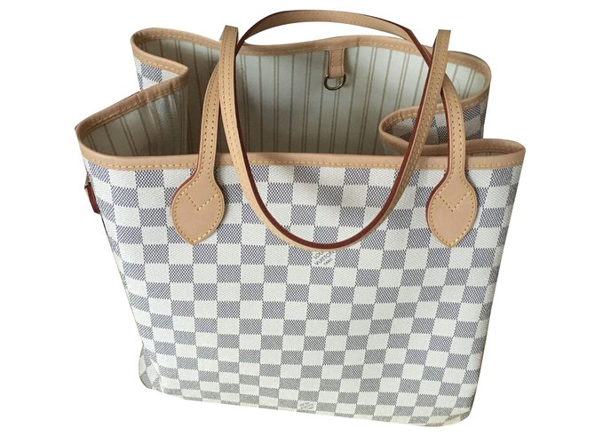 6d7e8c27ec243 Louis Vuitton Neverfull MM Toile Damier Azur Handbags Leather Beige  ref.67082