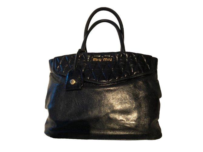 Miu Handbag Handbags Leather Black Ref 67084