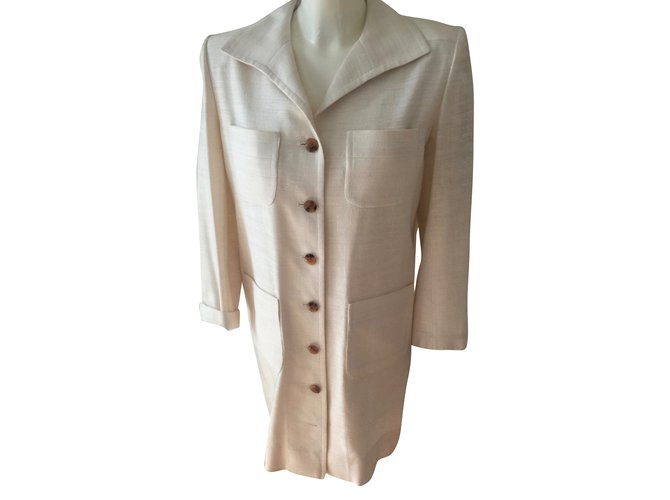 Robes Yves Saint Laurent Robes Soie Beige ref.67209