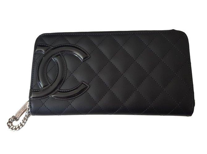 a37ddd5655f Portefeuilles Chanel Portefeuille Cambon Cuir Noir ref.67351 - Joli ...