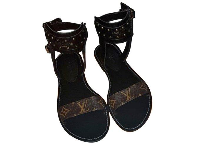 e9edefb34 Louis Vuitton NOMAD Sandals Sandals Leather Brown ref.67605 - Joli ...