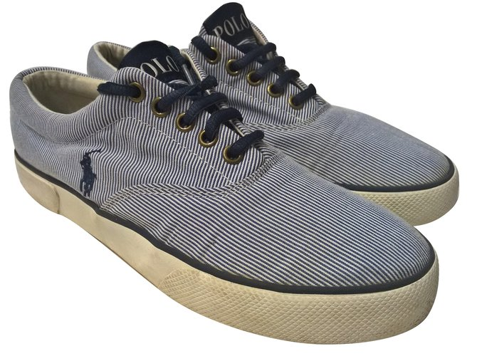 Polo Ralph Lauren Sneakers Boots Cotton White,Blue ref.67619