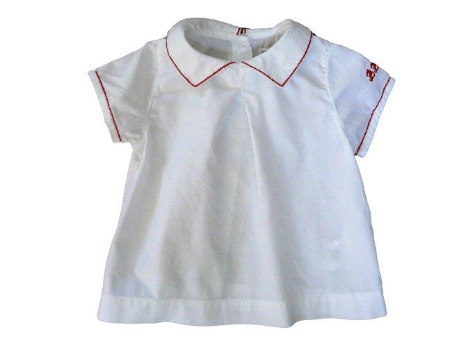 Tops fille Autre Marque Blouse DPAM bébé- 6 mois - 100% coton Coton Blanc,Rouge ref.67849