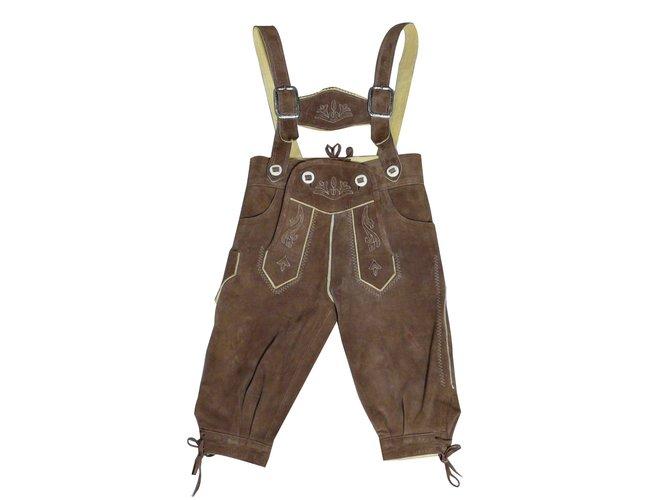 Pantalons garçon Autre Marque Pantalon autrichien Steindl daim véritable-Brodé - 18 mois Daim Caramel ref.67877