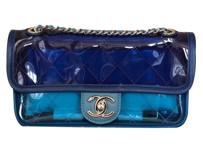 4bcf11f518a71 Chanel Runway PVC bag Handbags Plastic Blue ref.67990 - Joli Closet