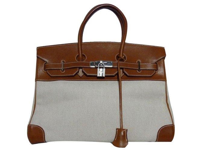ed70f7b50f Sacs à main Hermès Rare Birkin 35 bi-matière cuir & toile ! Cuir ...