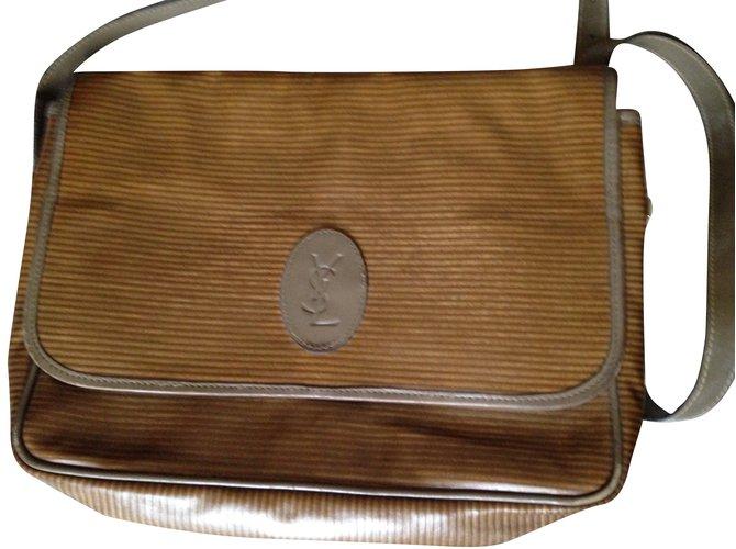 7952814adc0 Yves Saint Laurent vintage Handbags Cloth Beige ref.68255 - Joli Closet