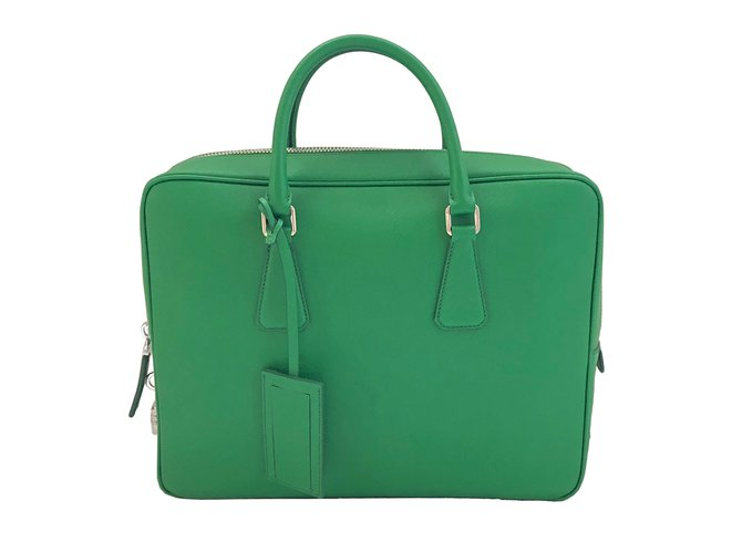 Prada Bag Bags Briefcases Leather Green ref.68362