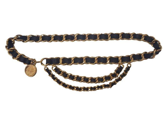 f23f4d4fee5 Ceintures Chanel ceinture cuir et métal doré Métal Doré ref.68435 ...