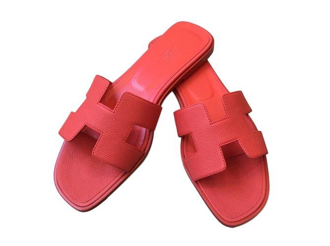 ae1bec1ef3a1 Hermès Oran Flats Leather Orange ref.68503 - Joli Closet