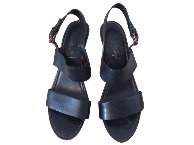98ab24e427720 ... italy yves saint laurent sandals sandals leather black ref.68519 66b85  6259d