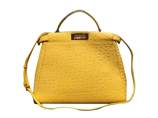 351ff98779 Fendi PEEKABOO Handbags Exotic leather Yellow ref.68900 - Joli Closet