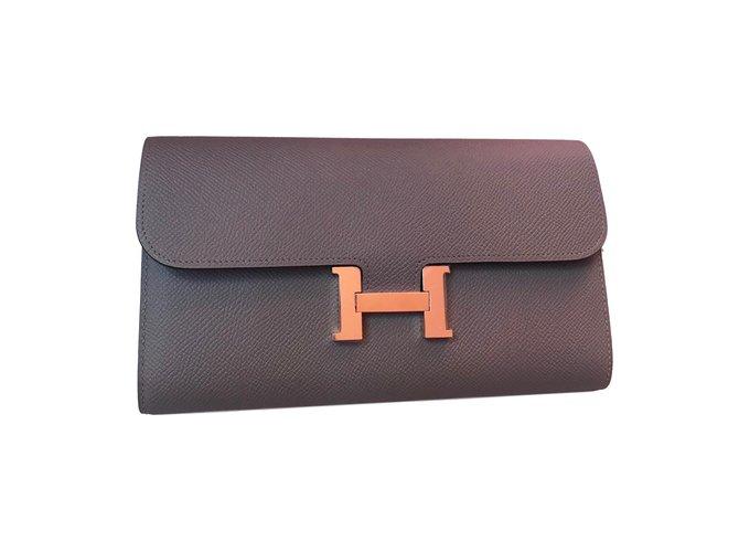 c2f4314ea6f0 Hermès Constance Wallet Wallets Leather Grey ref.68956 - Joli Closet