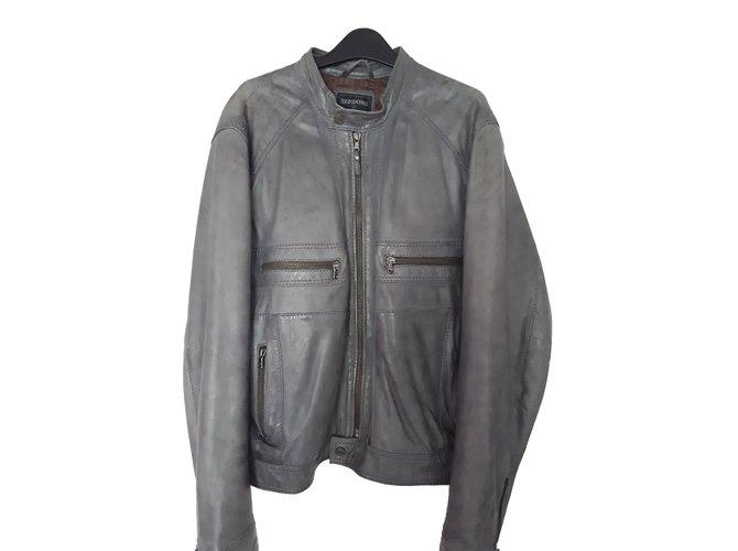 Redskins Men Coat Men Coats Outerwear Leather Grey ref.68994