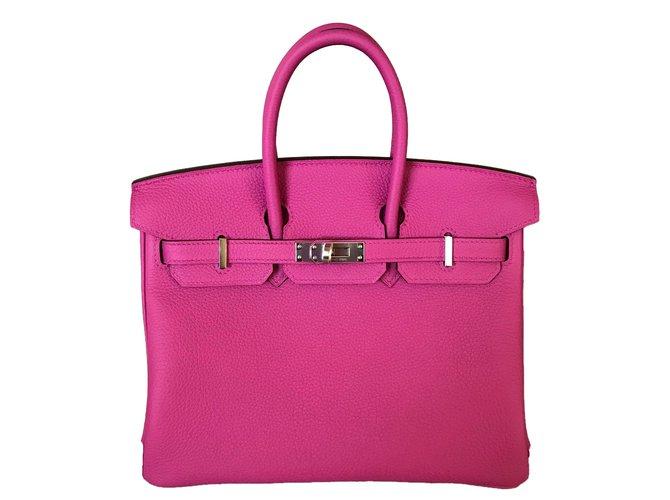 Sacs à main Hermès Hermes Birkin 25CM Magnolia Togo Leather Palladium Cuir Rose ref.69114