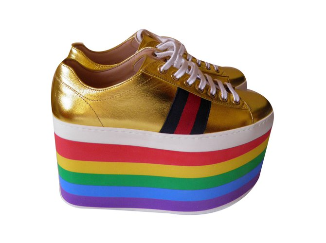 74644f9088c9 Gucci rainbow platform sneakers Sneakers Leather Golden ref.69192 ...