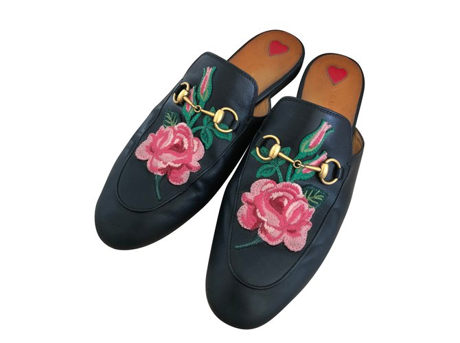 3f7cf614c48 Gucci Gucci Princetown leather black with embroidery Mules Leather Black  ref.69212