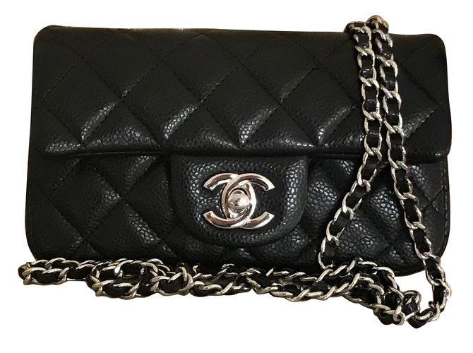 fdf31de4063b0f Chanel extra mini classic flap bag in black caviar leather with silver hw  Handbags Leather Black