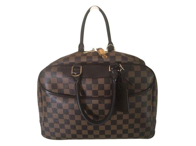 Sacs à main Louis Vuitton Deauville damier ebene Cuir Marron ref.69407 a7c2786c020