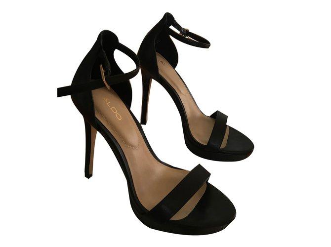 410c2d36970 Aldo Madalene Sandals Leather Black ref.69583 - Joli Closet