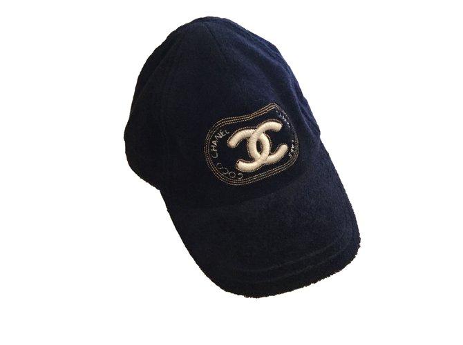 Chapeaux Chanel Casquette Coton Bleu ref.69670 - Joli Closet 0bcb481de97