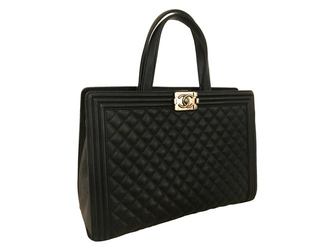 4bb374764558 Chanel CHANEL Black Quilted Calfskin Boy Large Shopping Tote Bag in grained leather  Totes Leather Black