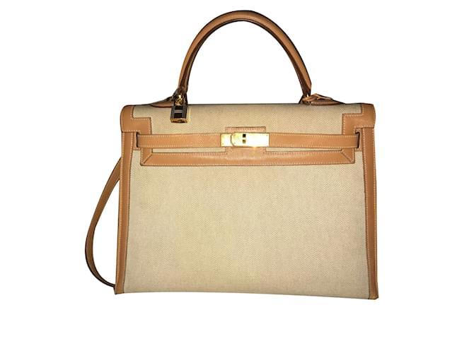3d7884eba3 Sacs à main Hermès Kelly 35 Cuir,Tissu Sable,Cognac ref.69706 - Joli ...