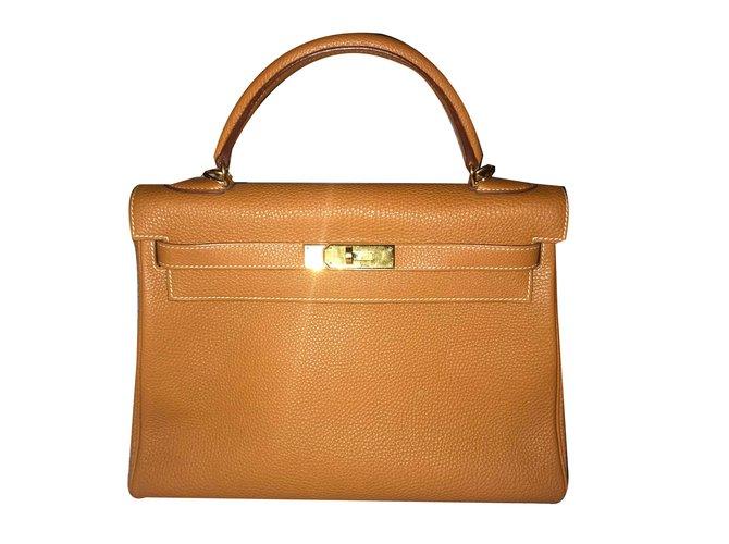 Sacs à main Hermès Kelly 32 Cuir Cognac ref.69707